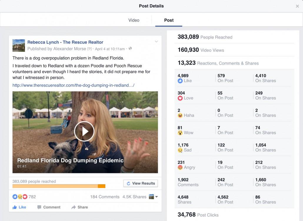 Facebook post detail stats
